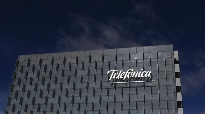 Logo of Spain's Telefonica is seen on its headquarters outside Madrid