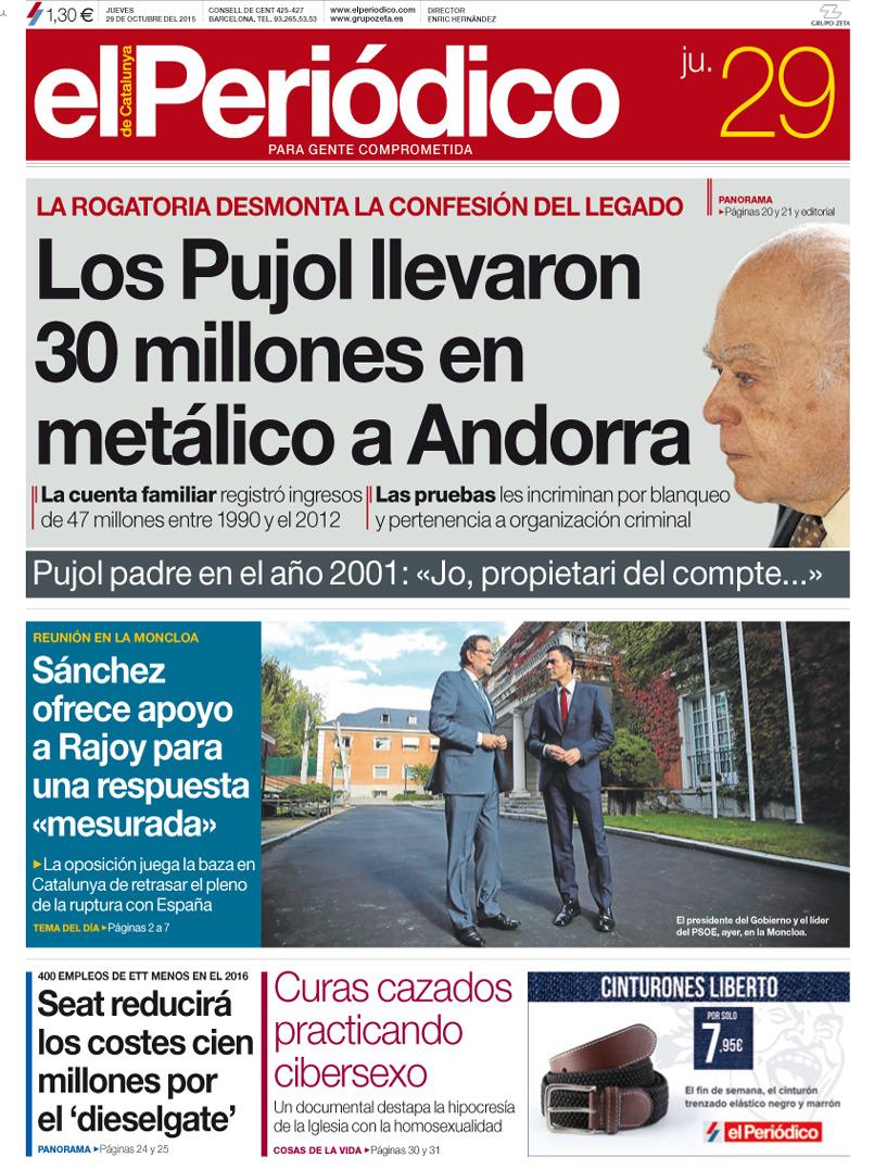 Los Pujol ingresaron 30 millones en metálico en 10 cuentas en Andorra