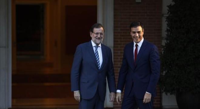 Mariano Rajoy y Pedro S�nchez, en una reuni�n que celebraronen el palacio de la Moncloa.