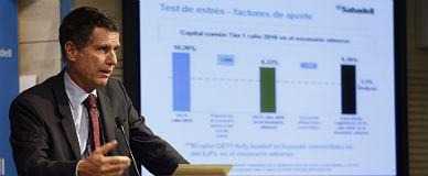 Jaume Guardiola, consejero delegado del Banc Sabadell, en la presentaci�n de resultados, este jueves.