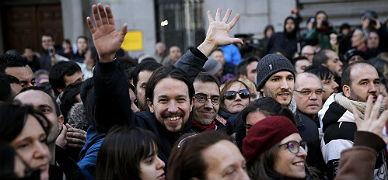 Pablo Iglesias, junto a Juan Carlos Monedero, en la Marcha del Cambio, este s�bado en Madrid.