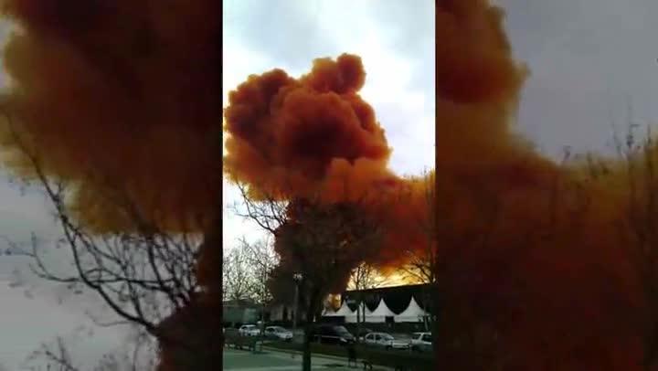 La nube tóxica de Igualada, desde la Cafetería Keops.