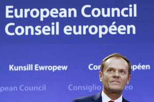 File photo of European Council President Donald Tusk attending a news conference in Brussels