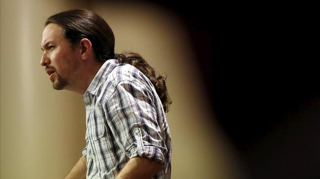 Pablo Iglesias comparece en rueda de prensa en el Congreso.