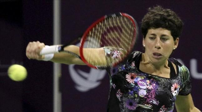 Carla Suárez, durante la final del torneo de Doha