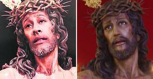 La imagen del Cristo Despojado con la cara de Danierl (izquierda) y la original.