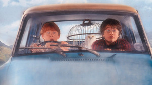 Harry Potter y Ron Weasley en el Ford Anglia volador
