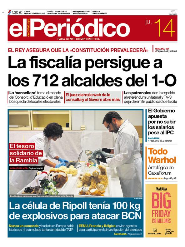 La portada de EL PERIÓDICO DE CATALUNYA del 14 de septiembre del 2017