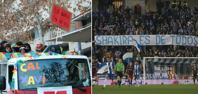 A la izquierda, la pancarta 'La Gabriel �s de tots', en el carnaval de Manresa. A la derecha, la pancarta 'Shakira es de todos', en el estadio de Cornell�-El Prat.