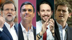 Los cuatro principales candidatos a las elecciones generales del 20-D.