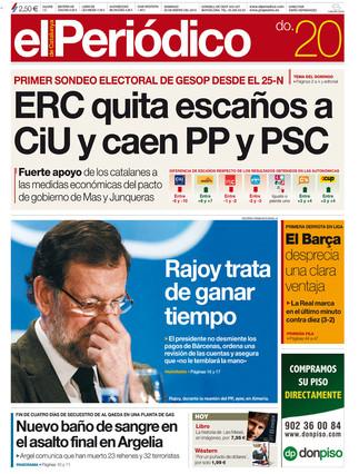 """""""ERC quita esca�os a CiU y caen PP y PSC"""", en la portada de EL PERI�DICO"""
