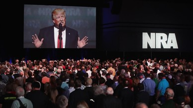 El presidente Donald Trump durante el discurso que ha pronunciado ante los miembros de la Asociación Nacional del Rifle.