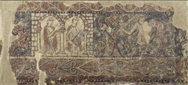 Uno de los fragmentos de pintura del monasterio de Sijena que forman parte de la colecci�n del MNAC.