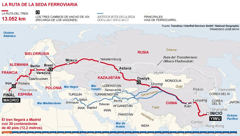 mapa tren china españa