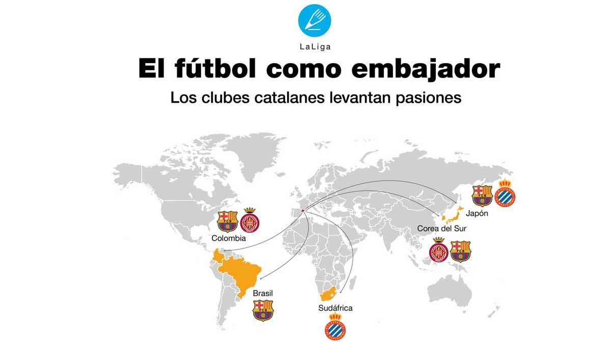 Los seguidores más internacionales de los clubes catalanes.