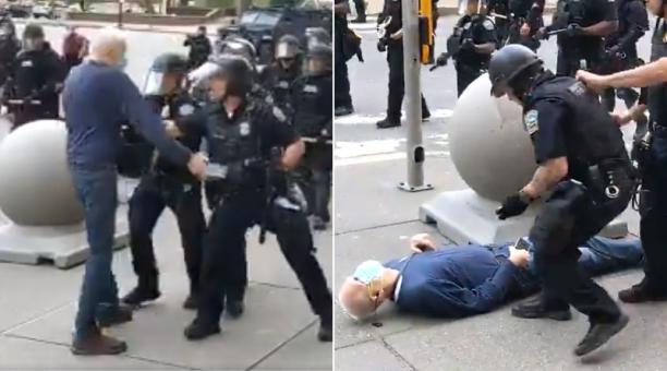 Un vídeo mostra una brutal agressió policial contra un avi durant un manifestació a Buffalo