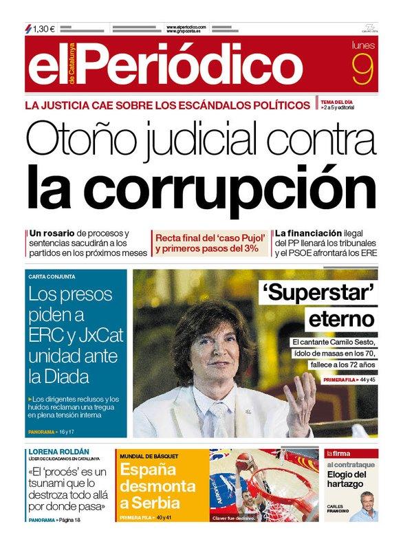 Portada de El Periódico del 9 de septiembre de 2019.