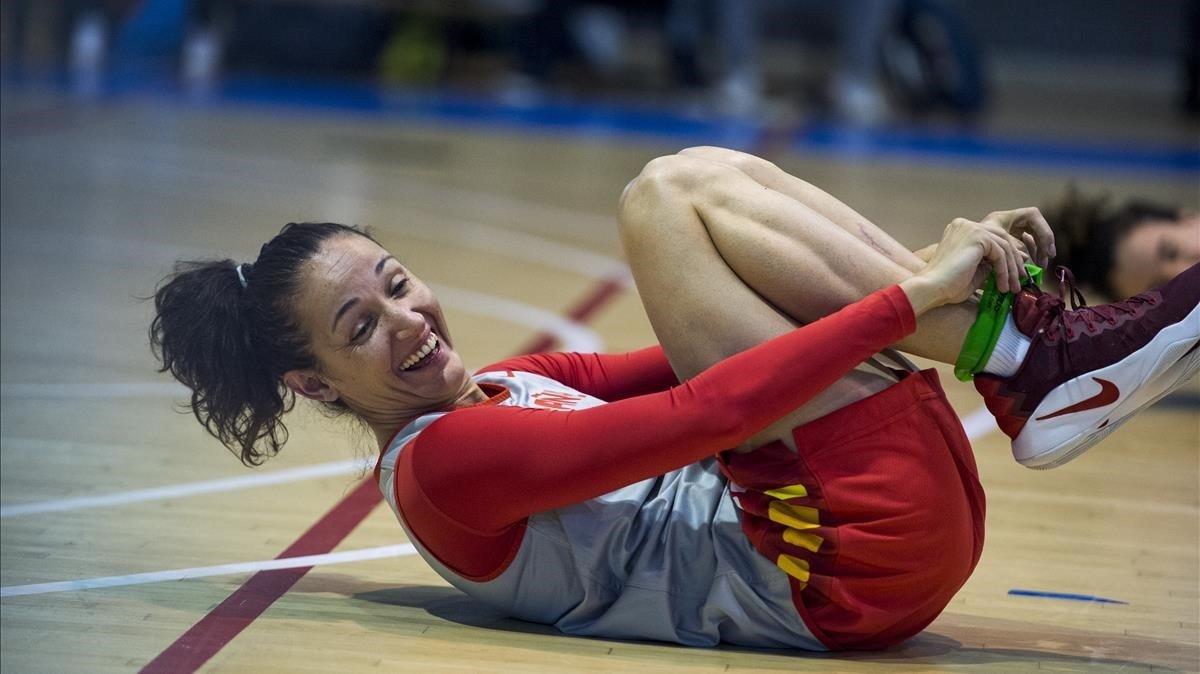Laia Palau, en un entrenamiento de la selección.