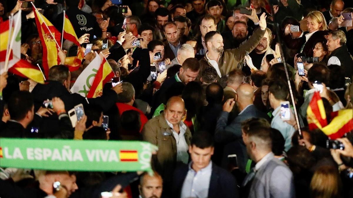 Mitin de Vox en Dos Hermanas (Sevilla), con Santiago Abascal.