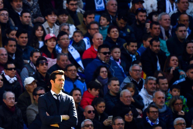 Santiago Solari en un momento del partido que el Madrid perdió ante el Girona.
