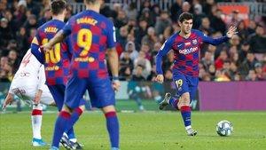 Aleñá, en el choque del Barça ante el Mallorca en el Camp Nou.