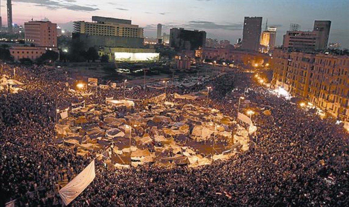 La plaza de Tahrir en febrero del 2011.