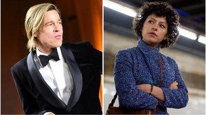 Brad Pitt, en los Oscars de 2020, y Alia Shawkart, en la serie Search Party.
