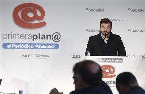 El cabeza de lista de ERC el 20-D, Gabriel Rufián, en el foro Primera Plana de EL PERIÓDICO.