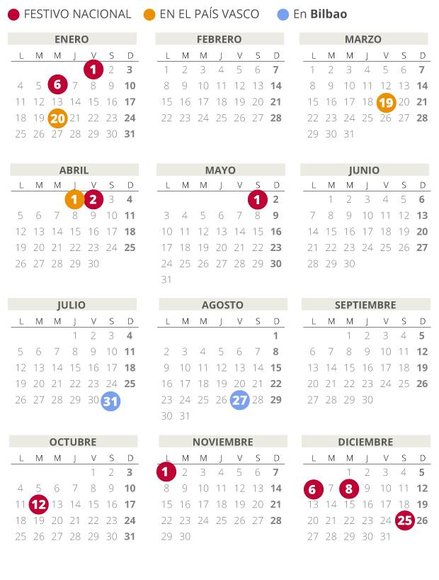 Calendario laboral de Bilbao del 2021.