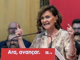 GRAF7794. CALVIA (MALLORCA) , 27/10/2019.- La vicepresidenta del Gobierno en funciones, Carmen Calvo, interviene en un mitin de precampaña del PSIB en Calvià. EFE/CATI CLADERA