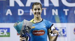 Carolina Marín con la publicidad de Carbonell.