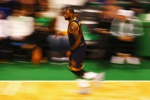 BOSTON, MA - MAY 25: LeBron James #23 of the Cleveland Cavaliers dribbles the ball in the second half against the Boston Celtics during Game Five of the 2017 NBA Eastern Conference Finals at TD Garden on May 25, 2017 in Boston, Massachusetts. NOTE TO USER: User expressly acknowledges and agrees that, by downloading and or using this photograph, User is consenting to the terms and conditions of the Getty Images License Agreement. Adam Glanzman/Getty Images/AFP
