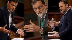 Sánchez, Rajoy y Ábalos, en el Congreso de los Diputados.