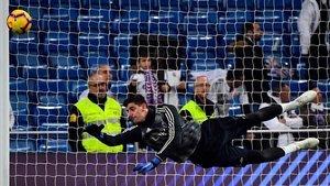 Courtois, en los prolegómenos del Madrid-Rayo en el Bernabéu.