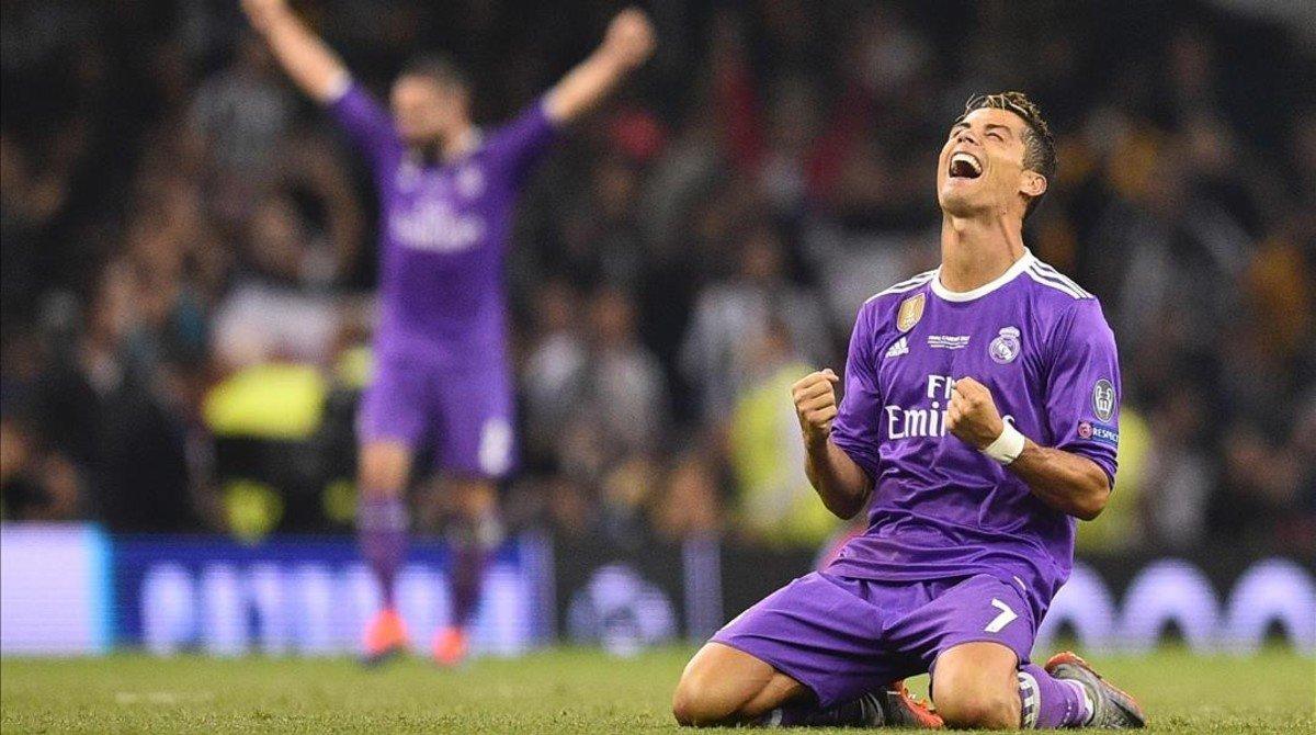 Cristiano Ronaldo festeja el triunfo en la final de Cardiff.