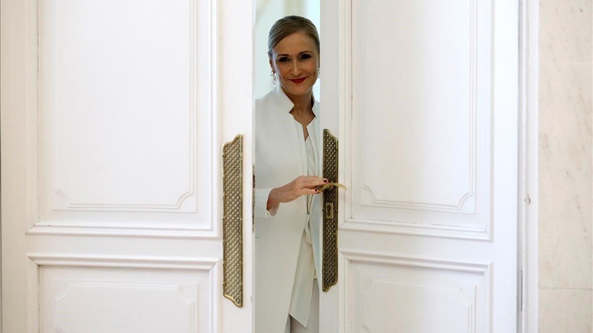 Cristina Cifuentes, el pasado 25 de abril, día en que anunció su dimisión como presidenta de la Comunidad de Madrid.