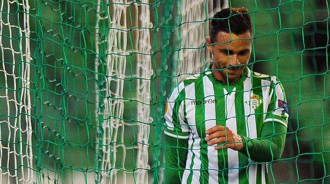 El delantero bético Rubén Castro, durante un partido en el Benito Villamarín.
