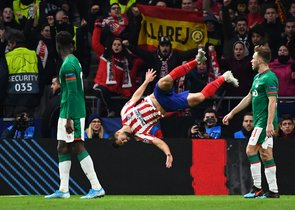Felipe celebra un gol del Atlético al Lokomotiv de Moscú.