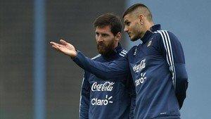 Icardi y Messi en un entrenamiento ante del partido ante Uruguay.