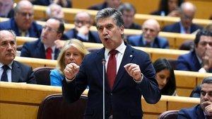 El portavoz popular en el Senado,Ignacio Cosidó,durante su intervención en la sesión de control de este martes.