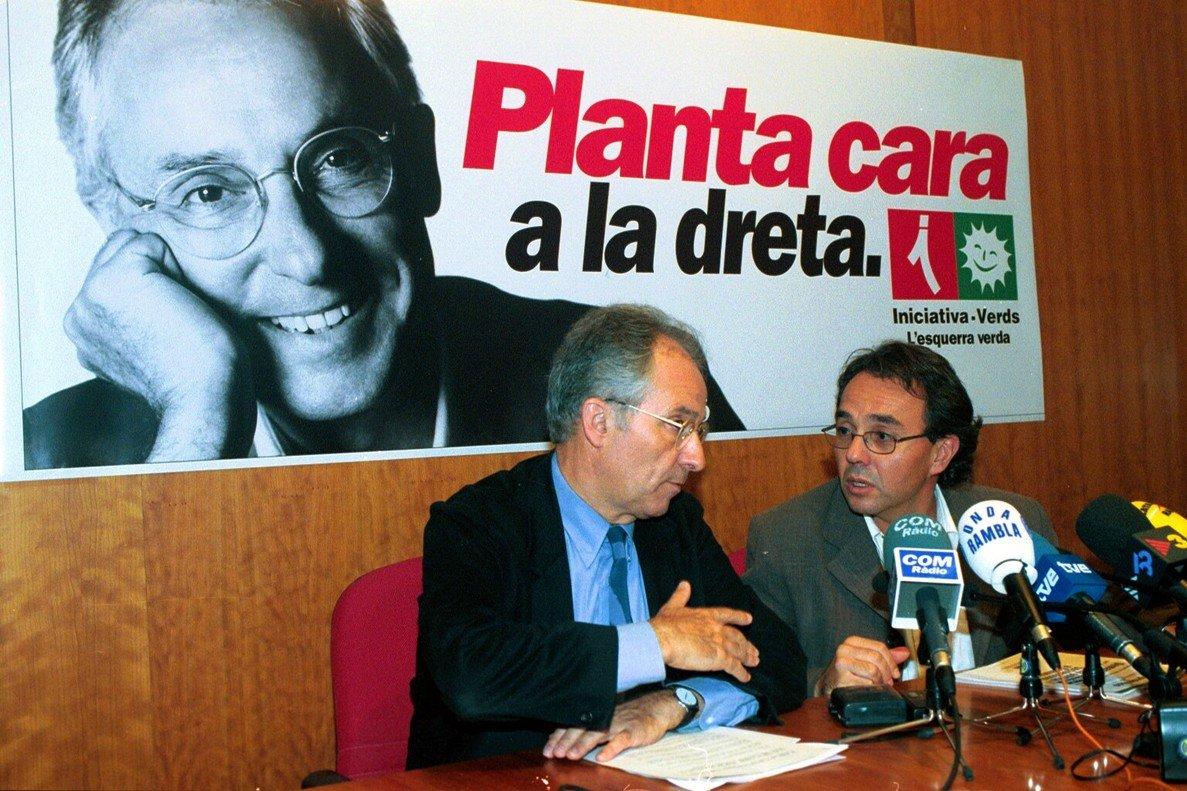 El exlíder de ICVRafael Ribójunto aJoan Coscubiela(actual portavoz de Catalunya Sí que es Pot en el Parlament) durante la campaña electoral catalana de 1999.