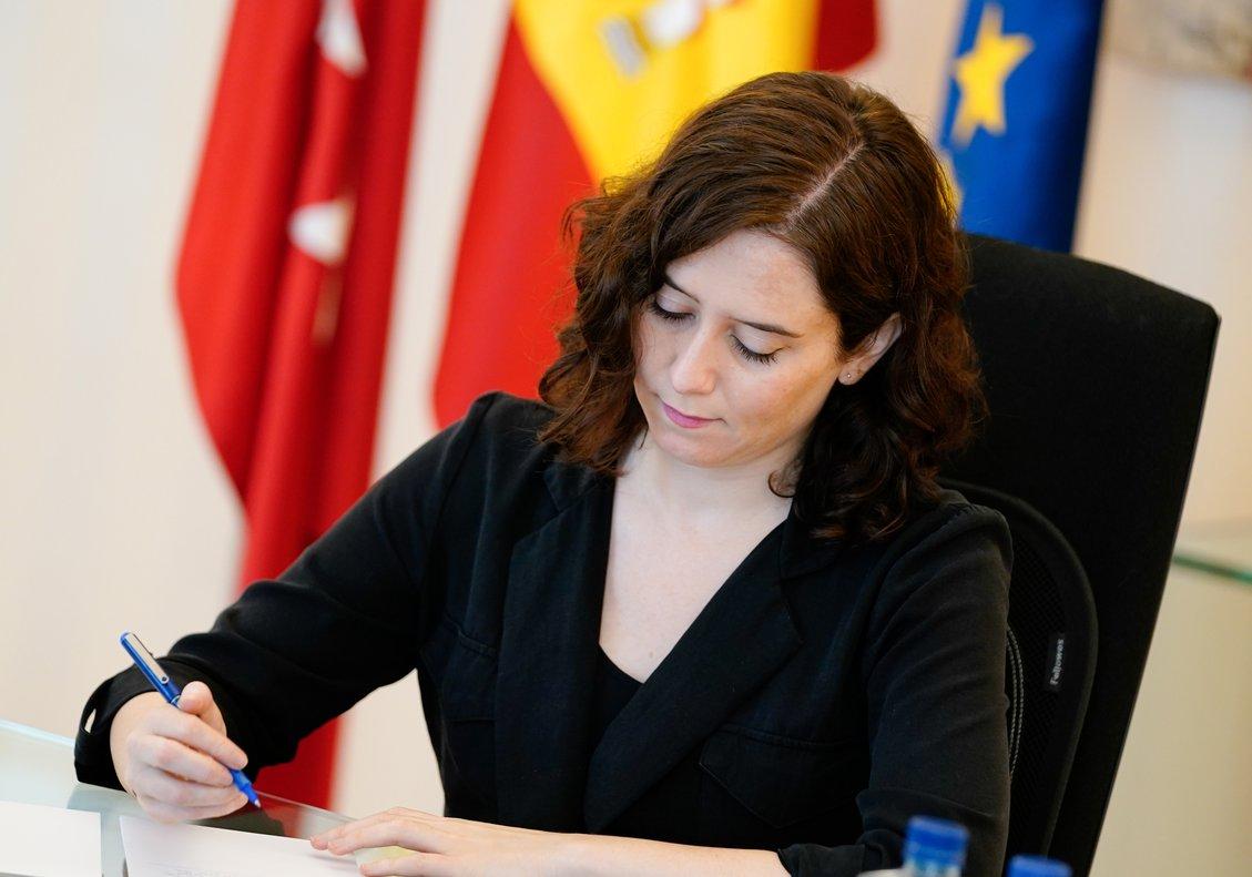La presidenta de la Comunidad de Madrid, Isabel Díaz Ayuso, durante una reunión mantenida de forma telemática con los presidentes autonómicos, en Madrid (España) a 3 de mayo de 2020.
