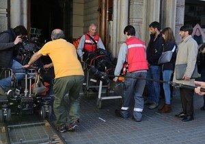 En la izquierda de la imagen, Hugo Silva, Michelle Jenner y Fernando Tejero durante uno de los momentos del rodaje.