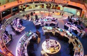 Imagen de los estudios de la cadena de televisión Al Jazeera en Doha (Catar).