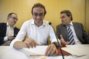 Jordi Turull, Josep Rull y Artur Mas, en unareuníón de la ejecutiva de Convergència.