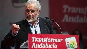 Julio Anguita, en su mitin de este miércoles en Málaga.