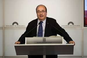 El líder del PSC, Miquel Iceta, durante una comparecencia en el Parlament.