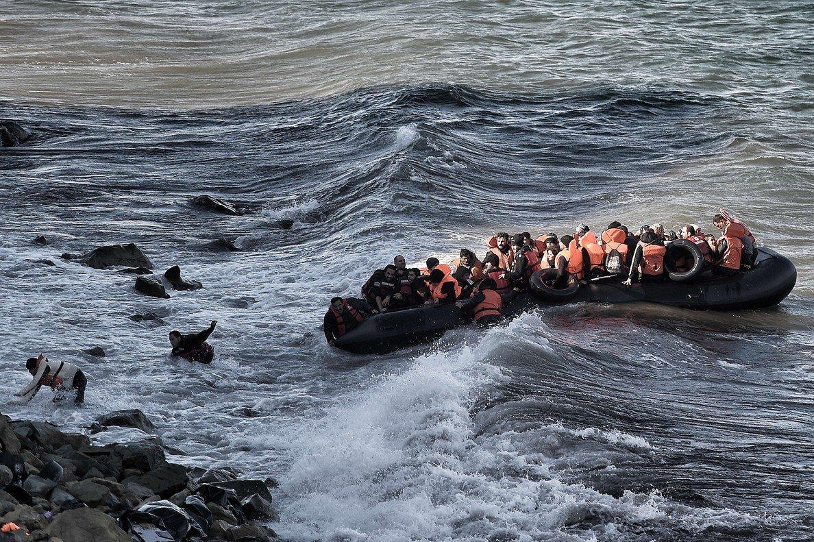 Llegada de inmigrantes a la isla de Lesbos.