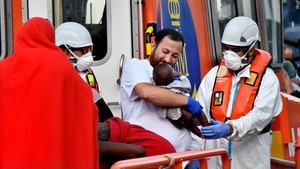 Llegada de inmigrantes al puerto de Almería, el 3 de agosto.