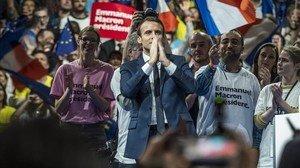 Macron, en el mitin de Lyón.